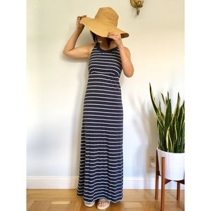 Nautical Blue & White Stripe Maxi Dress